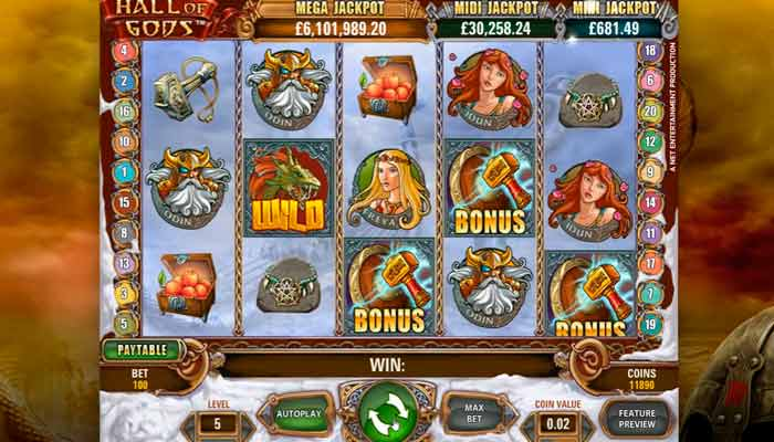 Hall of Gods NetEnt Progressive Jackpot - Rizk Casino